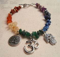 Chakra Bracelet - Yoga Bracelet, Natural Stone with Silver Om, Tree of Life, and Hamsa Hand Charms on Etsy, $20.00