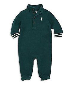 Ralph Lauren Baby's Rib-Knit Cotton Footie - Green