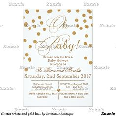 Glitter white and gold baby shower invitation