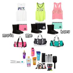 """""""What me and my bffs bring to our sleepover"""" by kylie-shawn-forever ❤ liked on Polyvore featuring Victoria's Secret, Victoria's Secret PINK, UGG Australia, Clean & Clear, Laura Geller, GHD, scunci and Moroccanoil"""