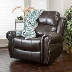 Buy Harbor Dark Brown Leather Glider Recliner Club Chair by GDFStudio on Dot & Bo