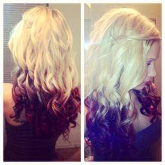 Dip dyed hair blonde-brown-red-maroon Hair stylist- tabitha black
