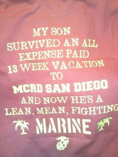 For our son, that was 10 years ago today he is a GySgt. Marine Sister, Marine Love, Once A Marine, Military Mom, Army Mom, Military Party, Marine Mom Quotes, Marine Graduation, Marines Boot Camp