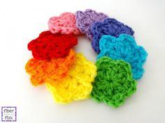 13 more rainbow #crochet patterns - flowers by @fiberflux