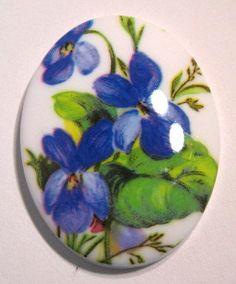 German Vintage Plastic 40x30mm Violet Cameo by beadbarnsupplies, $2.50