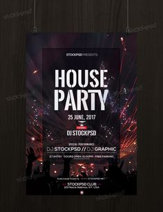 house party download free psd flyer template