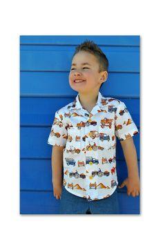Boy's shirt sewing pattern The Thomas Shirt pdf sewing pattern, shirt pattern for 2 to 14 years. Hawaiian Shirt children's sewing pattern