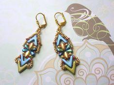 Tutorial - Nautilus Earrings - Ava, Irisduo, Dropduo, O beads & seed beads - beading Tutorial Seed Bead Tutorials, Beading Tutorials, O Beads, Seed Beads, Unique Necklaces, Unique Earrings, Beaded Necklace Patterns, Bead Patterns, Weaving Patterns