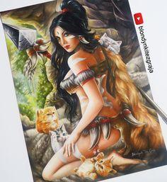 Nidalee and kitties, Blondynki Też Grają on ArtStation at https://www.artstation.com/artwork/1WgNq