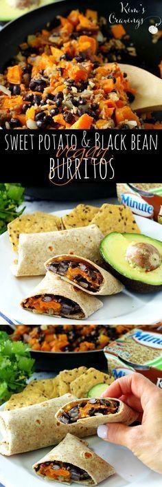 Sweet Potato and Black Bean Vegan Burritos / Note de Rachel : 8/10 - bon - facile et bon avec salsa et crème sure