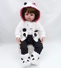 "24"" Reborn Silicone Toddler Baby Dolls Vinyl Panda Girl Realistic Gift Handmade"