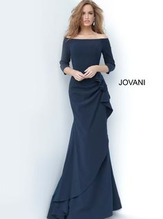 Jovani 00446 | Navy Ruched Bodice with Ruffle Dress Blue Evening Dresses, Evening Gowns, Evening Party, Jovani Dresses, Prom Dresses, Bride Dresses, Wedding Dresses, Dressy Dresses, Mermaid Dresses