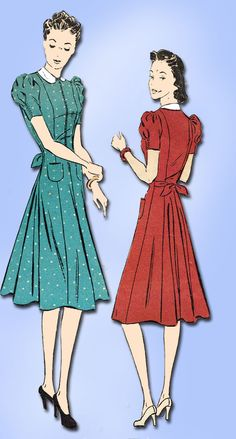 1940s Vintage Du Barry Sewing Pattern 2371 Misses Street Dress Size 14 32B Orig | eBay