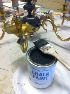 Maison Decor: Painting a Brass Chandelier, and a big mistake!