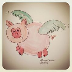 Drawing of flying pig
