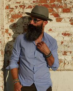 summer casual - open collared shirt with trilby hat