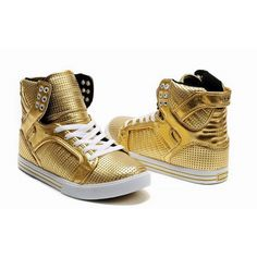Women Supra Skytop II High Top Gold Shoes found on Polyvore