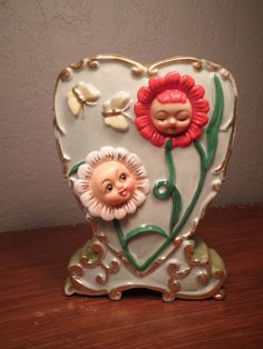 Vintage Heart Wall Pocket with Anthropomorphic Flowers