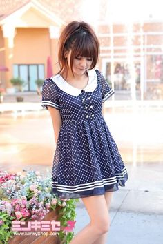 Most popular tags for this image include: dress, blue, fashion, kawaii and polka dots