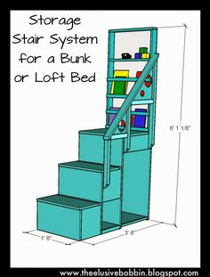 The Elusive Bobbin: Storage Stair System for a Bunk or Loft Bed - Free Plans