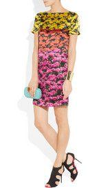 Mary Katrantzou, Colour block floral print silk satin dress