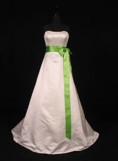 Double Faced Satin Ribbon Sash (sash only, gown is. Fabric: Swiss Double Faced Satin Ribbon(Satin finished on both sides! We carry a large selection of couture wedding gowns from the top bridal designers! Lime Green Weddings, Purple And Green Wedding, Green Wedding Dresses, Wedding White, Couture Wedding Gowns, Bridal Gowns, Wedding Bridesmaids, Bridesmaid Dresses, Discount Designer Wedding Dresses