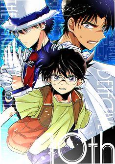Kaito Kid, Edogawa Conan, and Hattori Heiji Magic Kaito, Heiji Hattori, Manga Anime, Ran And Shinichi, Detective Conan Shinichi, Magic For Kids, Kaito Kuroba, Kaito Kid, Gosho Aoyama