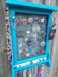 Upcycled Jewelry Organizer/Wall Hanging by patscraftingagain, $64.00