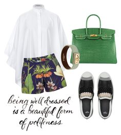 fun n green by omahtawon on Polyvore featuring polyvore moda style Valentino Penfield Hermès Givenchy fashion clothing