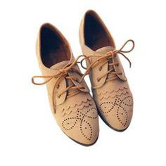 Hollow Carved Tied Apricot Flat Shoes | pariscoming