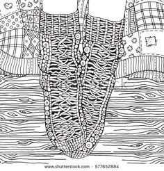 Wool socks, quilt blanket, wooden floor. Zentangle style. Adult Coloring book page. Black and white. Hand-drawn sketch.