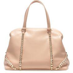 Zara Studded Bowling Bag (96 BRL) ❤ liked on Polyvore featuring bags, handbags, bolsas, malas, zara, borse, nude, studded purse, zara purse and bowler bags
