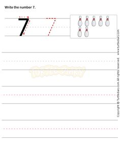 Number Writing Worksheet 7 - math Worksheets - preschool Worksheets