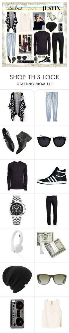 """""""Hottest Celebs of 2014: Justin Bieber and Selena Gomez"""" by piedraandjesus ❤ liked on Polyvore featuring Mossimo, Justin Bieber, H&M, adidas Originals, Versace, Alexander McQueen, Urbanears, Coal, Ray-Ban and Zero Gravity"""