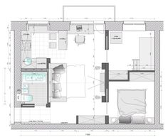 2 bedroom, 1 bathroom in 50 My Home Design, Cabin Design, Small House Design, Studio Floor Plans, House Floor Plans, Small Tiny House, Small House Plans, Interior Presentation, Small Apartments