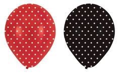 Red & Black Polka Dot Party Balloons - Pink Frosting Party Supplies