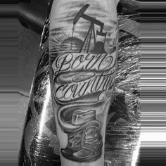 90 Cowboy Tattoos For Men - Wild Wild West Designs - Born Country Cowboy Grey And Black Tattoo With Script For Men - Band Tattoos, Music Tattoos, New Tattoos, Wife Tattoos, Tatoos, Basketball Tattoos, Cool Tattoos For Guys, Trendy Tattoos, Wild West