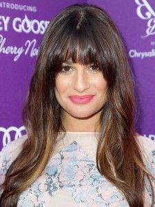 celebrity hairstyles, Lea Michele, Lea Michele hairstyle, blunt bangs, wavy hair