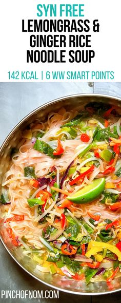 Syn Free Lemongrass & Ginger Rice Noodle Soup | Pinch Of Nom Slimming World Recipes 142 kcal | Syn Free | 6 Weight Watchers Smart Points