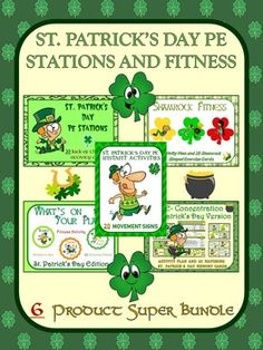 St. Patrick's Day PE Stations and Fitness- 6 Product Super Bundle