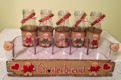 Gingerbread Up Cycled Jars Burlap Sill Setter Mantle Decor Ginger Kitchen Country Home Country Housewarming Gift Original Design Starbucks Bottle Crafts, Jar Lid Crafts, Gingerbread Crafts, Gingerbread Men, Christmas Crafts To Make And Sell, Canning Jar Lids, Letter Stencils, Craft Patterns, Craft Fairs
