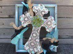 Cross Wall Art Frame Decor Flower Wooden Crosses Rustic