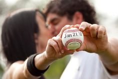 Save the date - creative wedding photo idea with Busch stadium in the background!!
