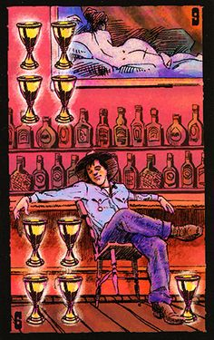 Finally, a Tarot card image that perfectly depicts my feelings/experiences regarding the Nine of Cups! From the Prairie Tarot series by Robin Ator -- Nine of Cups