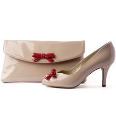 Suomi sand patent peep toe court shoes with red bow  xxx