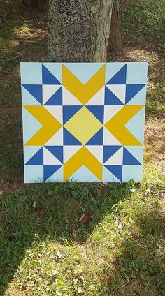 This is a x barn quilt that is fully completed. The front was first coated with a sealant that locked the paint in then both sides were coated fully with a water sealer which will protect it from the weather. Summer Arts And Crafts, Arts And Crafts House, Easy Arts And Crafts, Arts And Crafts Projects, Barn Quilt Designs, Barn Quilt Patterns, Quilting Designs, Quilting Projects, Star Quilts