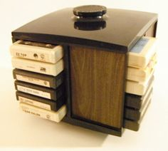 8-track tapes and 8-track tape holder. Wow, music technology has really advanced since then!!