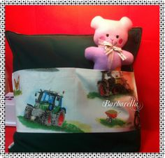 Kissen mit Tasche für kleine Treckerfans von BarbarellasNaehkram