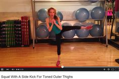 Squat With A Side Kick For Toned Outer Thighs   Saddlebag Blaster -- No Equipment Needed! One of the Nutrition Twins, Lyssie, shows you how- 26 second video  For MORE RECIPES, Fitness & Nutrition Tips please SIGN UP for our FREE NEWSLETTER www.NutritionTwins.com
