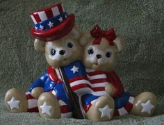 HandPainted Original Bisque Ceramic Patriot Bears by JoEdCeramics on Etsy, $13.00